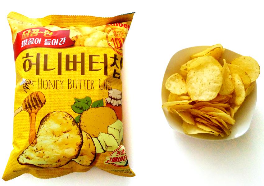 韓国産アカシア蜂蜜とフランス産グルメバター使用で甘く芳ばしいジャガイモチップスです。