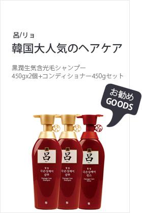 呂(リョ)黒潤生気含光毛シャンプー450gx2個+コンディショナー450gセット
